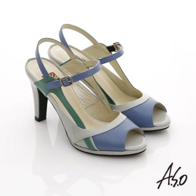 A.S.O 俐落職場 全真皮三色拼接高跟涼鞋 灰