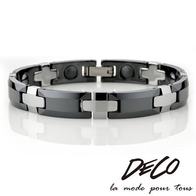 DECO X MASSA-G【曜黑十字】頂級鎢鋼陶瓷手環