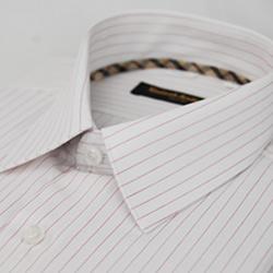 金‧安德森 經典格紋繞領白底紅條紋長袖襯衫