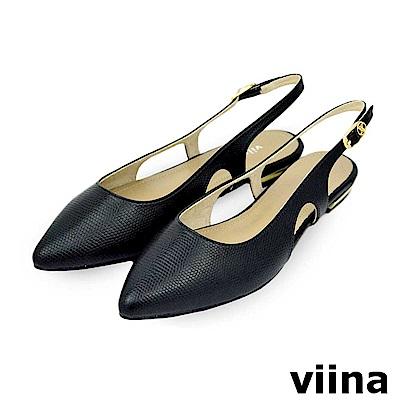 viina-尖頭簍空後繫帶平底鞋-黑色