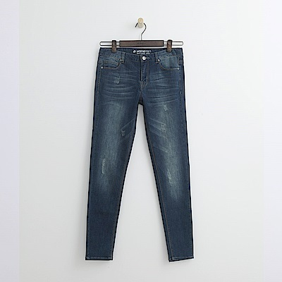 Hang Ten - 女裝 - 彈性萊卡窄管牛仔褲-深藍色