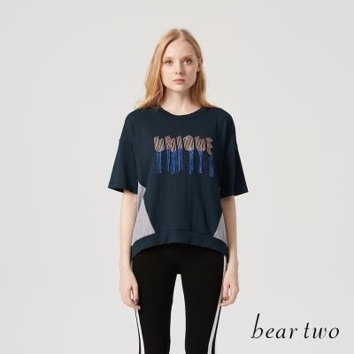beartwo 流蘇字母異材質拼接造型上衣(二色)