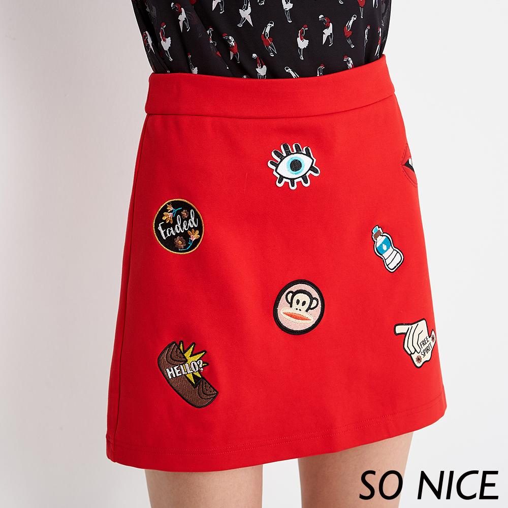 SO NICEXPaulFrank徽章羅馬布褲裙