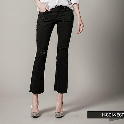 H:CONNECT 韓國品牌 女裝 - 純色破壞感修身長褲-黑(快)