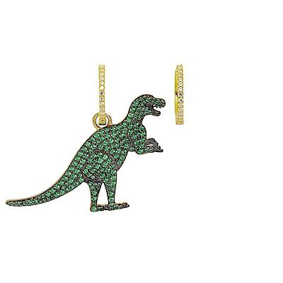 apm MONACO法國精品珠寶 金色垂墜綠鑽大恐龍造型不對稱耳環