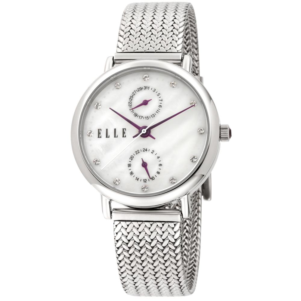 ELLE 編織璀鑽不鏽鋼腕錶-銀/32mm