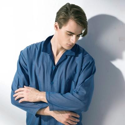羅絲美睡衣 -  都市時尚長袖褲裝男仕睡衣(深邃藍)