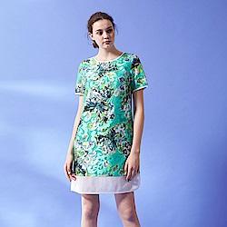 ICHE 衣哲 設計款滿版印花拼接造型質感禮服洋裝-綠