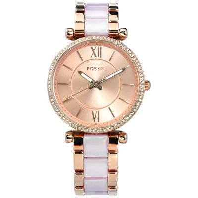 FOSSIL Carlie 名媛晶鑽閃耀玻麗不鏽鋼手錶 -鍍玫瑰金x淺紫/34mm