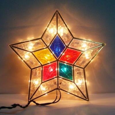 聖誕樹頂燈15燈(清光燈色+華麗五角星彩罩)鎢絲燈插電式(可裝於聖誕樹頂或窗戶邊等)