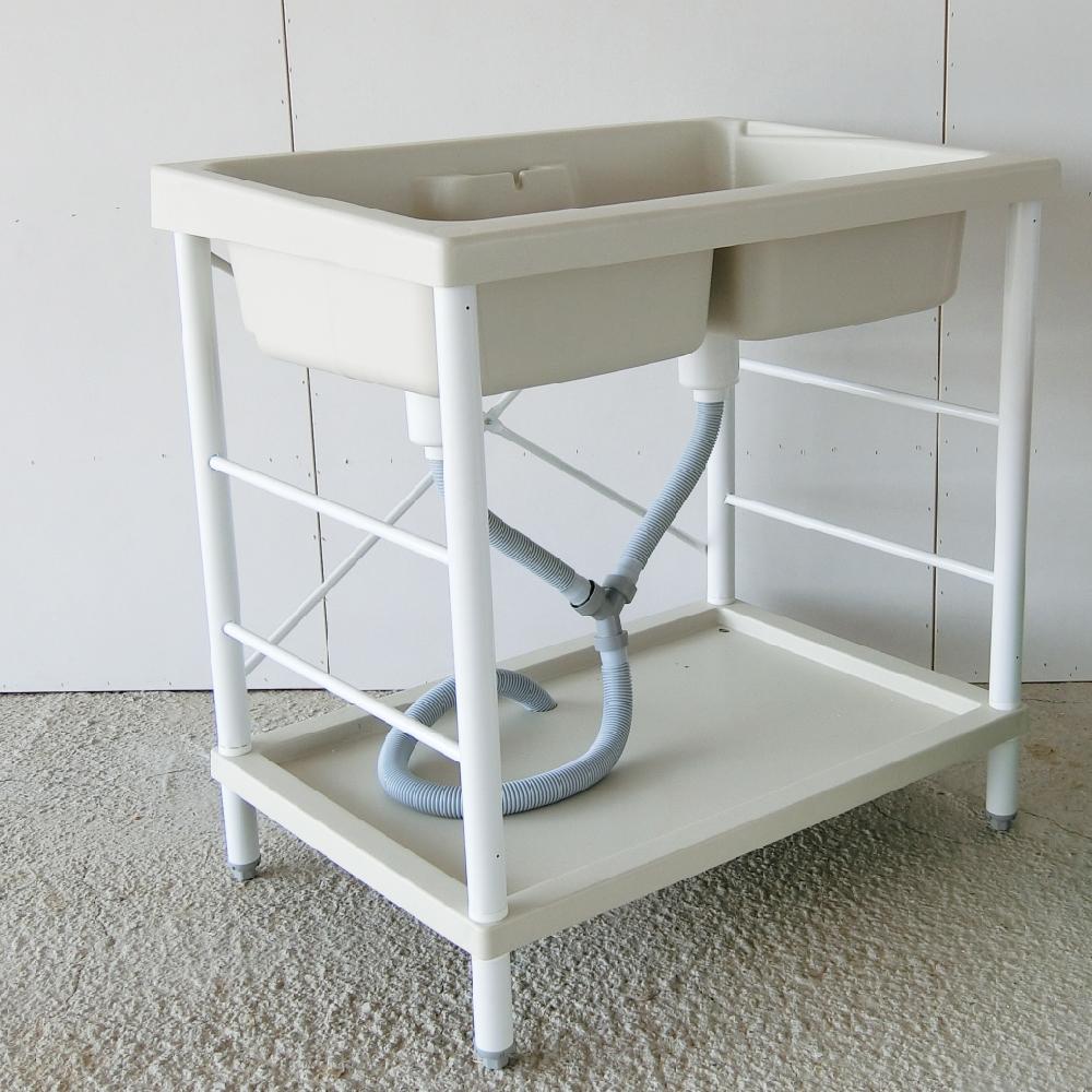 Amos-耐用穩固鐵腳烤漆洗衣槽(雙槽)W84×D58×H83 CM