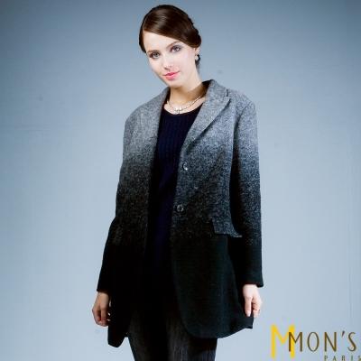 MONS-漸層色長版毛呢大衣