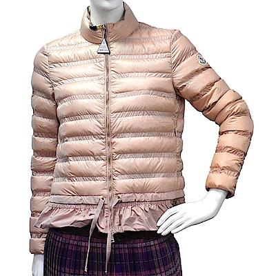 MONCLER 經典ANEMONE系列品牌LOGO輕盈絎縫羽絨拉鍊外套(女-粉膚)