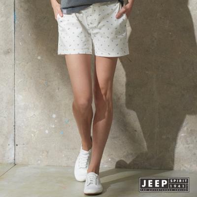 JEEP 女裝 活力女孩滿版海星造型休閒短褲 (白色)