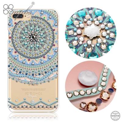 apbs iPhone8/7 Plus 5.5吋施華洛世奇彩鑽手機殼-初雪圖騰