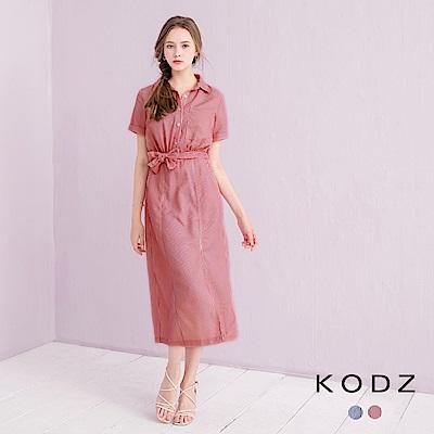 東京著衣-KODZ 都會簡約條紋綁帶開衩長洋裝-S.M.L(共二色)