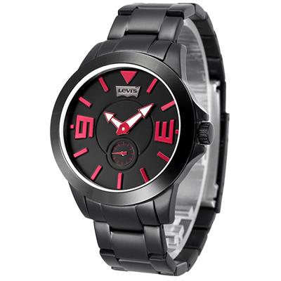 Levi s 即刻對戰獨立小秒針手錶-紅黑/鋼帶/ 42 mm