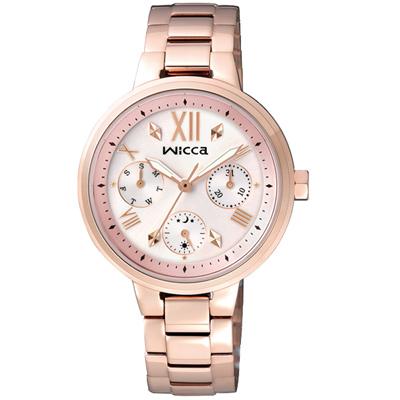 WICCA 彩色天空三眼設計腕錶(BH7-521-21)-粉x玫瑰金/34mm