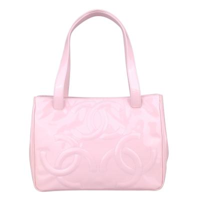 CHANEL 經典雙C LOGO漆皮肩背包(粉紅)-展示品