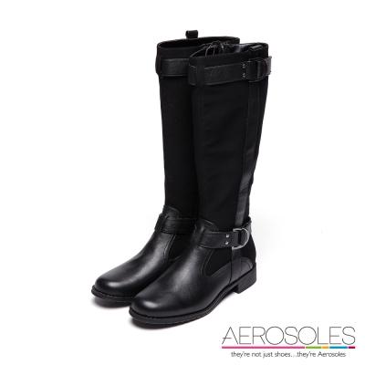 AEROSOLES-原色真皮金屬釦帶長靴-尊爵墨黑