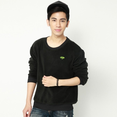 FIVE UP(男)- 極簡刷毛圓領T-黑螢綠
