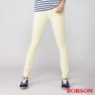 BOBSON 女款高腰強彈力小直筒褲(米黃8112-80)