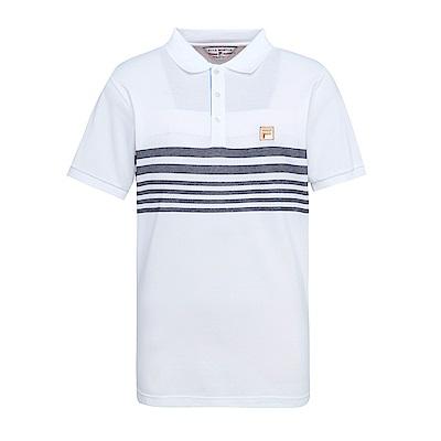 FILA 男條紋短袖POLO衫-白 1POS-1704-WT