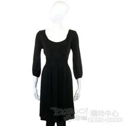SEE BY Chloe' 黑色U領挖背七分袖洋裝