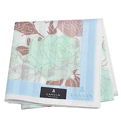 LANVIN 經典品牌玫瑰圖騰直紋LOGO大帕領巾(藍綠系)