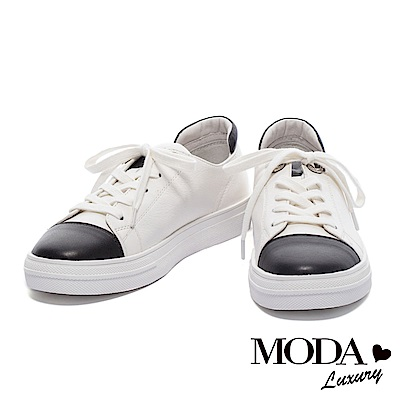 休閒鞋 MODA Luxury 率性潮流撞色拼接全真皮綁帶厚底休閒鞋-白
