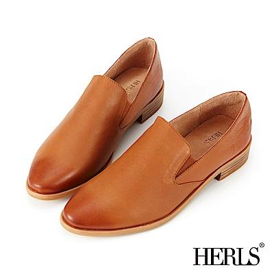 HERLS 品味生活 全真皮素面橢圓頭樂福鞋-棕色