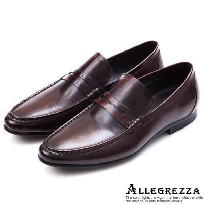 ALLEGREZZA‧極簡完美真皮紳仕鞋 咖啡色