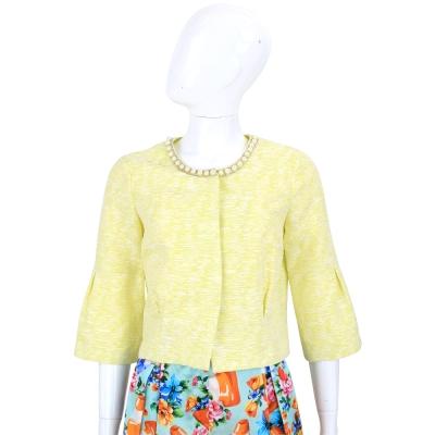 BLUGIRL 黃色珍珠飾領七分袖外套
