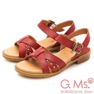 G.Ms. MIT系列-米字鉚釘繫帶牛皮平底涼鞋-紅色