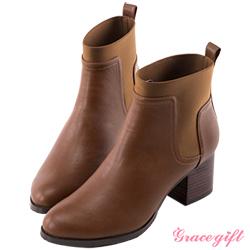 Grace gift 簡約異材質拼接粗跟短靴