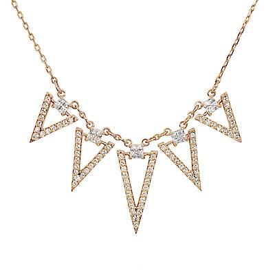 SWAROVSKI 施華洛世奇 FUNK倒三角鏤空排列造型水晶玫瑰金項鍊