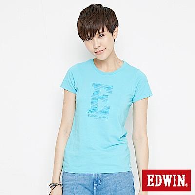 EDWIN 浪紋E字印花短袖T恤-女-水藍