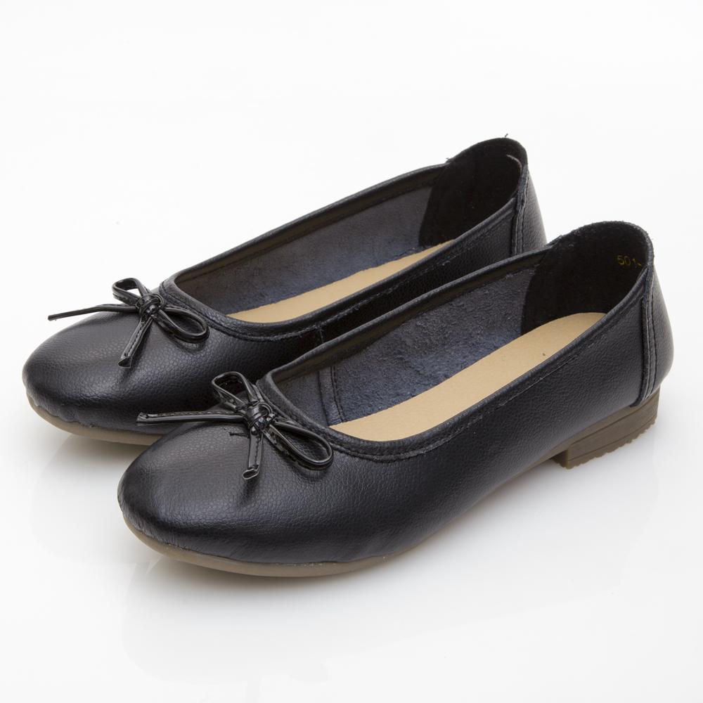 JMS-經典款蝴蝶結柔軟牛皮娃娃鞋-黑色