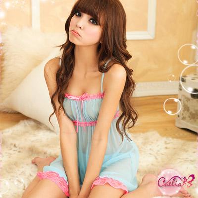 【Caelia】輕舞飄香!薄紗二件式睡襯衣