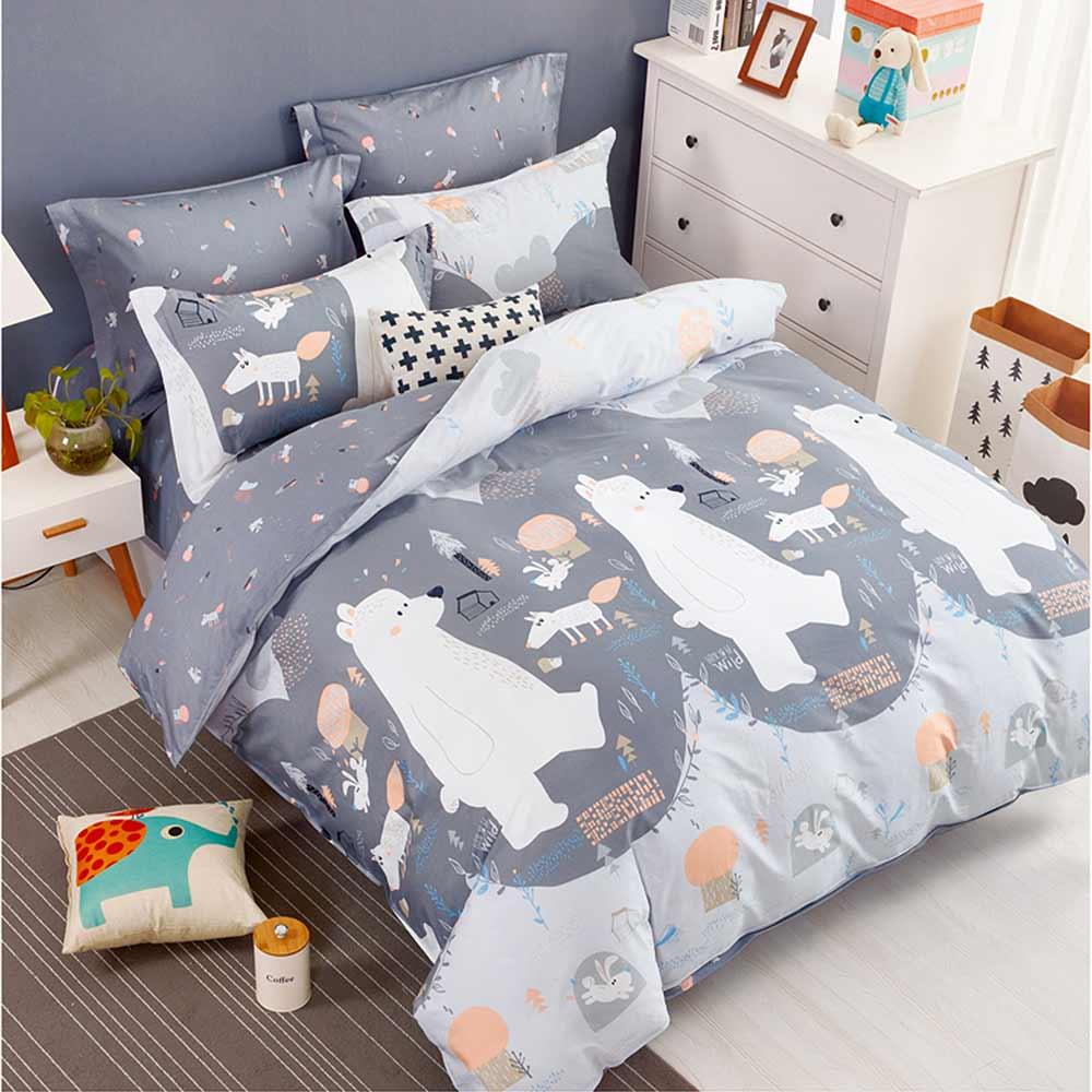 Ania Casa 北極熊 加大三件式 100%精梳棉 台灣製 床包枕套純棉三件組