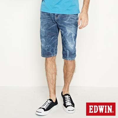 EDWIN 503拔色短褲-男-重漂藍