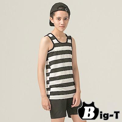 泳衣束胸 黑白寬條紋無袖套頭泳衣褲組(S-2XL) BIG-T