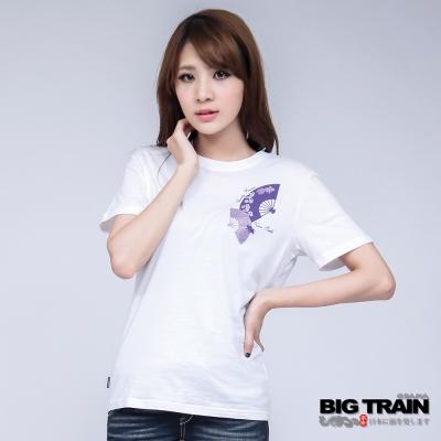 BIG TRAIN-女款金魚花扇印花TEE-白