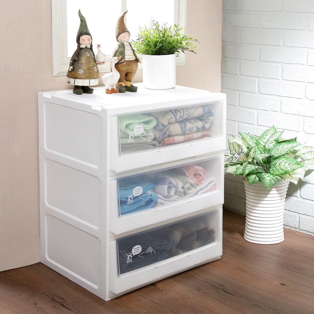 創意達人白色積木系統式3抽收納櫃108L