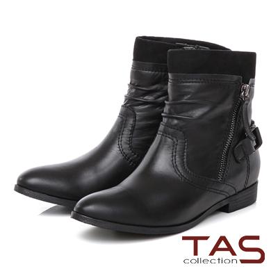 TAS 雙拉鍊抓皺拼接扣帶工程靴-個性黑