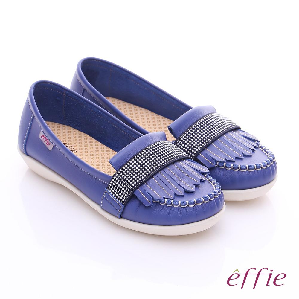 effie 縫線包仔鞋 牛皮流蘇水鑽織帶奈米休閒鞋 藍