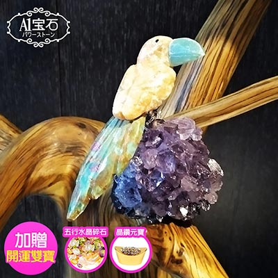 A1寶石  頂級彩色水晶鳥-紫水晶鎮/同聚寶盆發財樹水晶洞功效