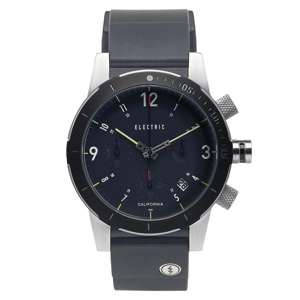 ELECTRIC FW02系列-復古強悍三眼計時腕錶-黑殼x黑矽膠錶帶/44mm