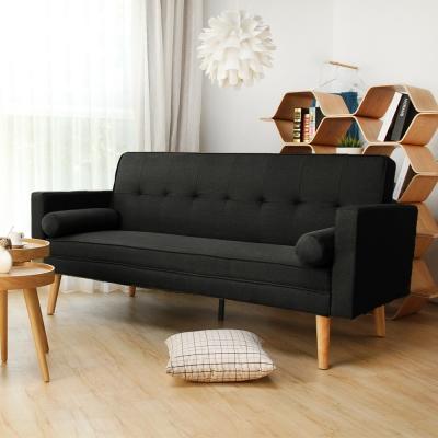 H&D 法蘭和風簡約日式沙發床-黑色