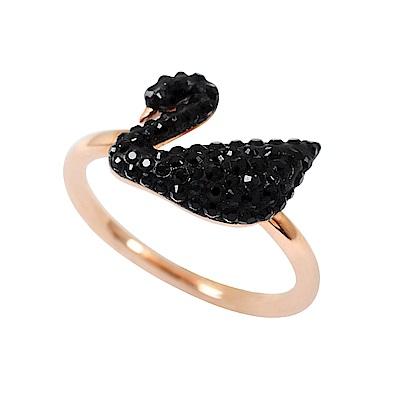 SWAROVSKI 施華洛世奇 黑色水晶天鵝造型玫瑰金戒指
